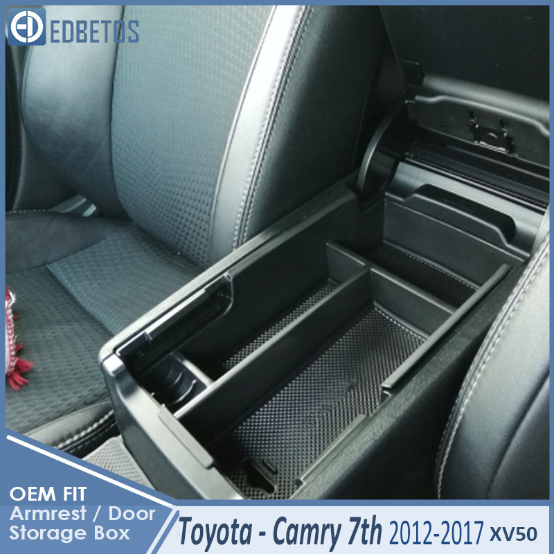 * Camry Car Armrest Box Center Console Storage Glove Box Organizer Insert Tray For Toyota Camry 2012 2013 2014 2015 2016 2017 1