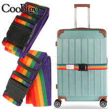 Lock-Buckle-Strap Nylon Cross-Belt Rainbow-Color Camping 1pcs Travel-Suitcase Baggage-Packing