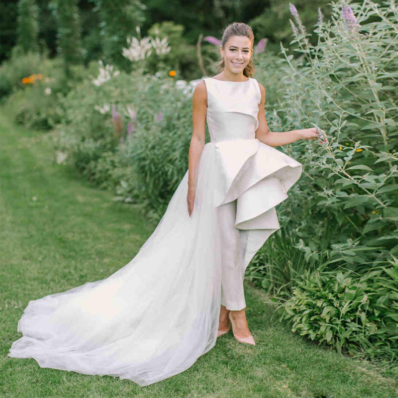 Stain Wedding Jumpsuit With Detachable Train 2020 Fashion Jewel