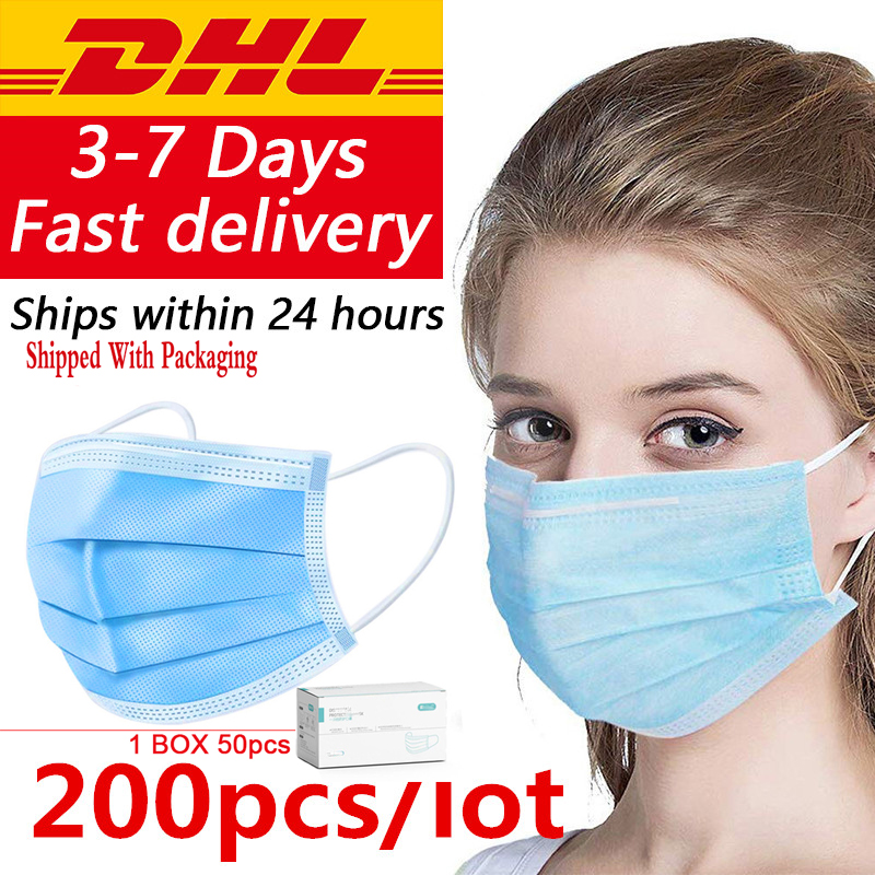 In Stock 3-Ply Blue Non-woven Face Mouth Mask Disposable Protective Masks Anti Dust PM2.5 Masks Masque Respirator  DHL Free Ship