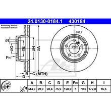 Диск тормозной передний Range Rover 4.4/3.0TD 02 ATE 24.0130-018