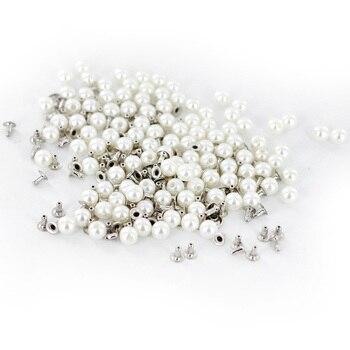 100 piezas 6mm botón redondo de perno de remache de perla para artesanía de cuero DIY accesorios para manualidades de moda