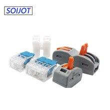 Miniconector de Cable rápido Universal, conectores de Cable de cableado, Terminal Push-In, Conector de luz Led, 10-100, unids/lote, 221, 222, 412, 413, 415