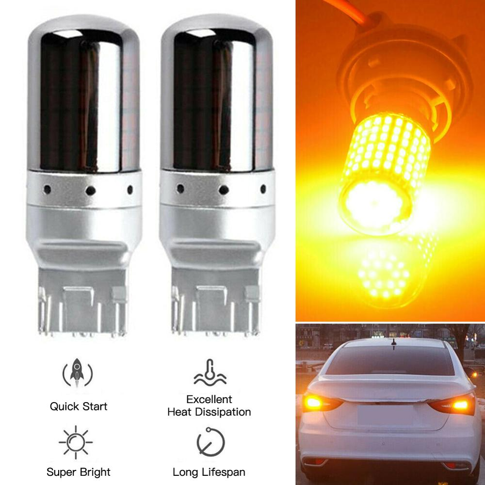 SALE 2PCS Set Chrome 7440 T20 Amber Canbus Error Free LED Lamp Bulb Turn Signal Light Wholesale Quick Delivery Dropshipping
