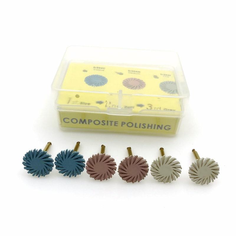 6pcs/set Dental Composite Resin Polishing Disc Kit Spiral Flex Brush Burs 3 Colors Mixed
