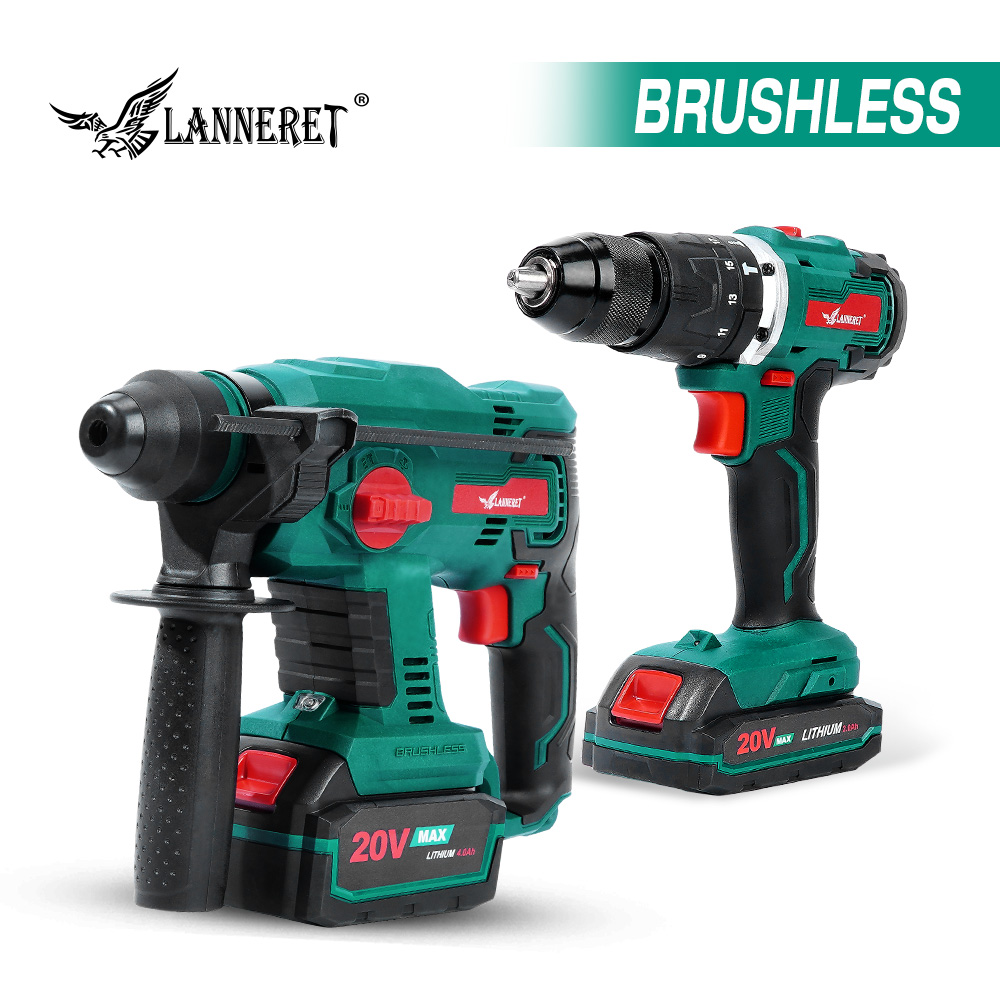 Brushless Rotary Hammer Electric Drill 20V Cordless Hammer 1.7J SDS PLUS Drilling Steel Concrete Wood