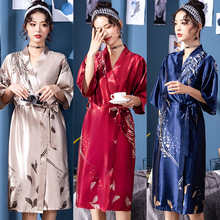 Feier Faux Silk Prints Seyx Summer Pajamas Women Leisure Sleep Robe Bathrobe 2019 New Arrival Loose Thin Sleepwear