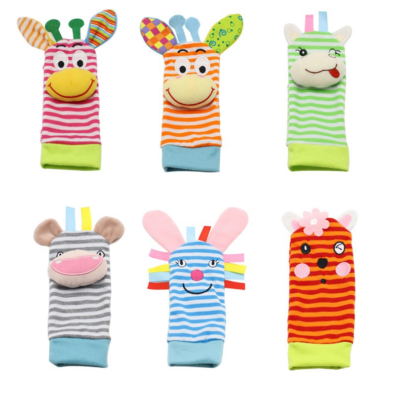 0~24 Months Baby Socks Infant Baby Kids Socks Cartoon Rattle Toys Wrist Rattle And Foot Socks