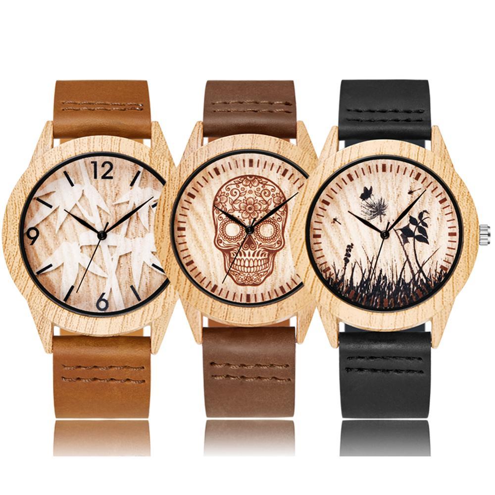 Creative Wood Watch Men Women Couple Quartz Imitation Bamboo Wooden Watch Animal Watches Brown Leather Skull Wrist Clock Reloj