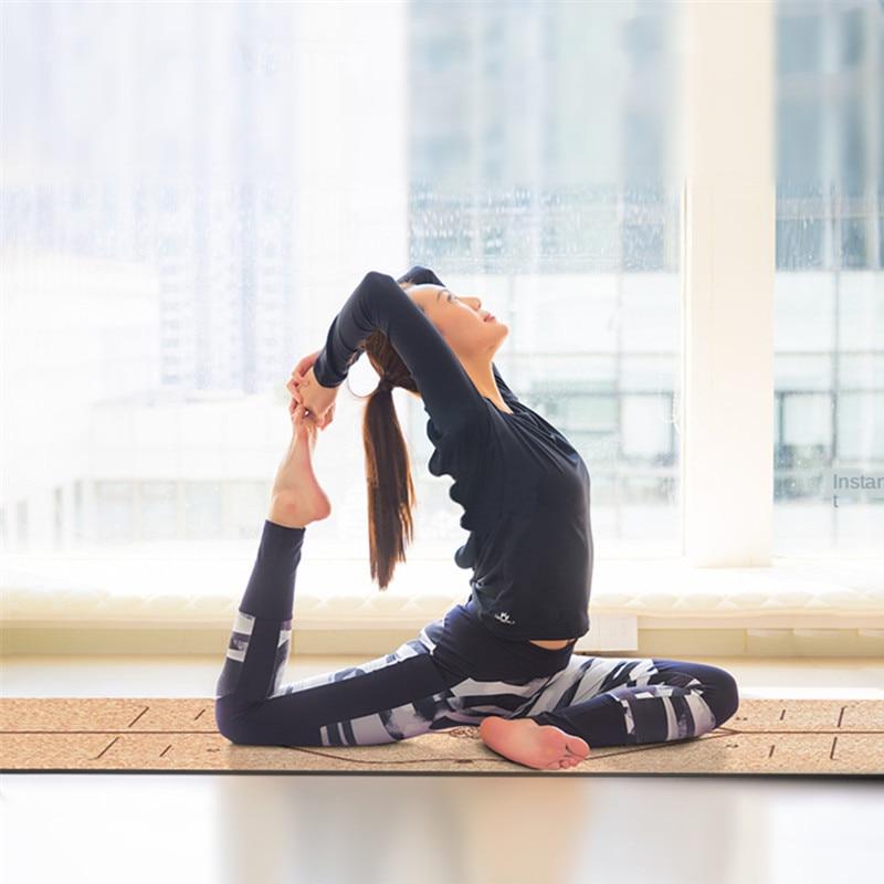 183X68cm Natural Cork TPE Yoga Mat For Fitness 5mm Sport Mats Pilates Exercise Non slip Yoga