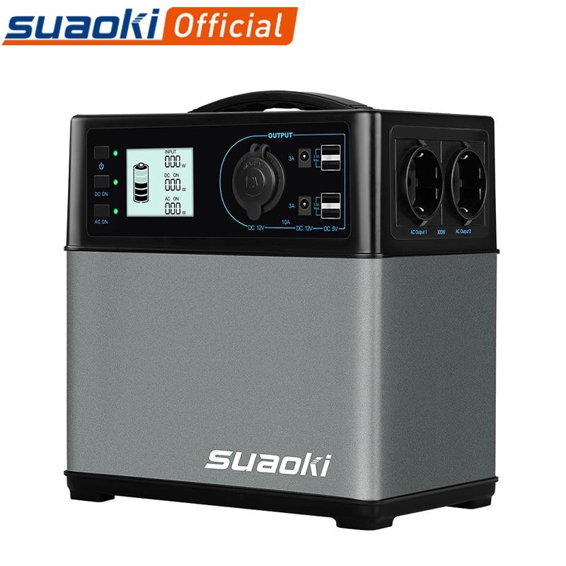 Suaoki PS5B 400wh портативная электростанция, 5 выходов, перезаряжаемая батарея, 4 USB зарядного устройства, AC 220V 600A, пусковое устройство