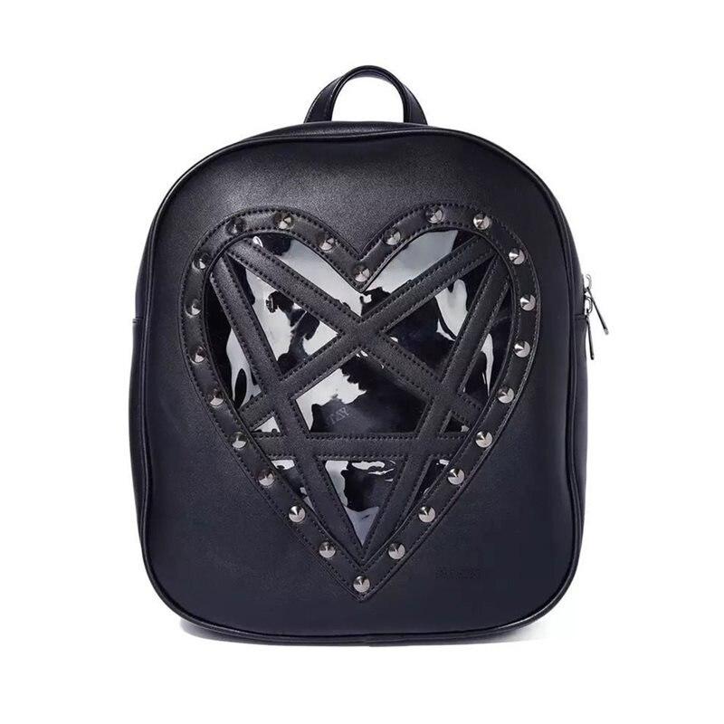 Rosetic Women Bag Backpack Gothic Pentagram Black Dark Harajuku Style Transparent Love Studded
