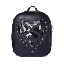 Rosetic Women Bag Backpack Gothic Pentagram Black Dark Harajuku Style Transparent Love Studded