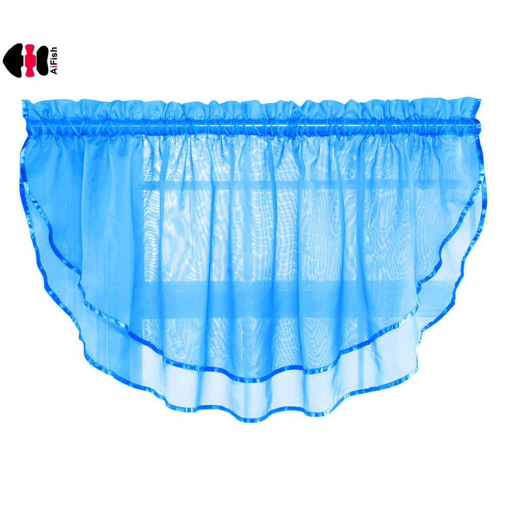 1 Piece Rod Pocket Sheer Curtain Valances For Kitchen Solid Scalloped Valance Short Tie For Half Windows Bathroom Cafe P184c