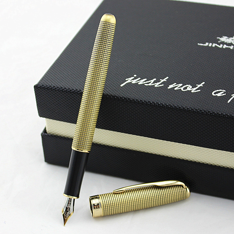 Retro Chain mail Fountain pen Copper barrel Gold Arrow clip Fine nib Jinhao 601A Office finance school writing supplies A6488 image