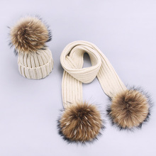 Winter Scarf Beanie Hat Set Two Pieces Parenting Knit Thick Windproof Warm Beanies With Pompon Outdoor Hats For Child And Adult
