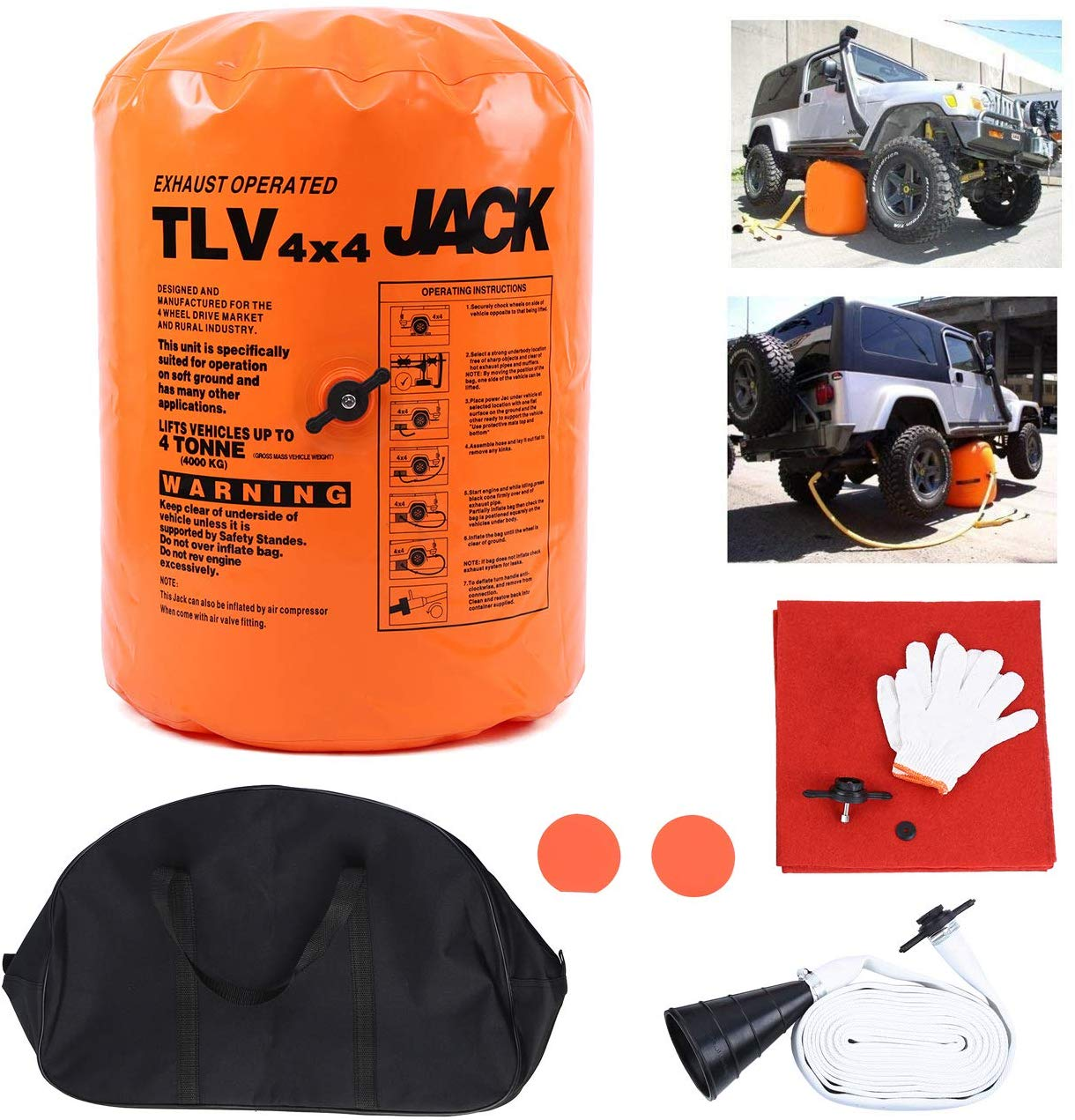 4T Exhaust Air Jack Inflatable Jack For SUV Car Truck Off-Road Rescue