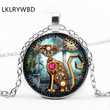LKLRYWBD / Steampunk Cat Round Glass Necklace Cute Ear Pendant Jewelry