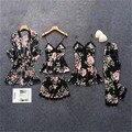 Женская пижама Daeyard, шелковая пижама с цветочным принтом, комплект из 5 предметов, атласная пижама, сексуальная женская ночная рубашка, одежд...