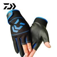 DAIWA-guantes de pesca antideslizantes para hombre y mujer, equipo de pesca para deportes al aire libre, 3 dedos, 1 par