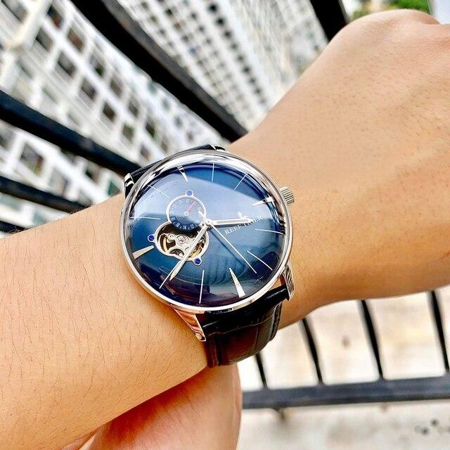Nowy rafa Tiger/RT luksusowe złota róża zegarka mężczyzna automatyczne mechaniczne zegarki Tourbillon zegarki z brązowy skórzany pasek RGA8239