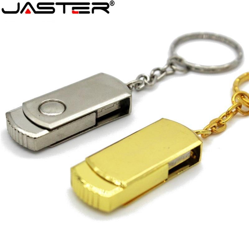 USB 2.0 Metalen Flash Drive 16 GB 32 GB 64 GB 128 GB Pendrive Draaibare Usb Flash Drive Pen Memory Sticks Met Sleutelhanger