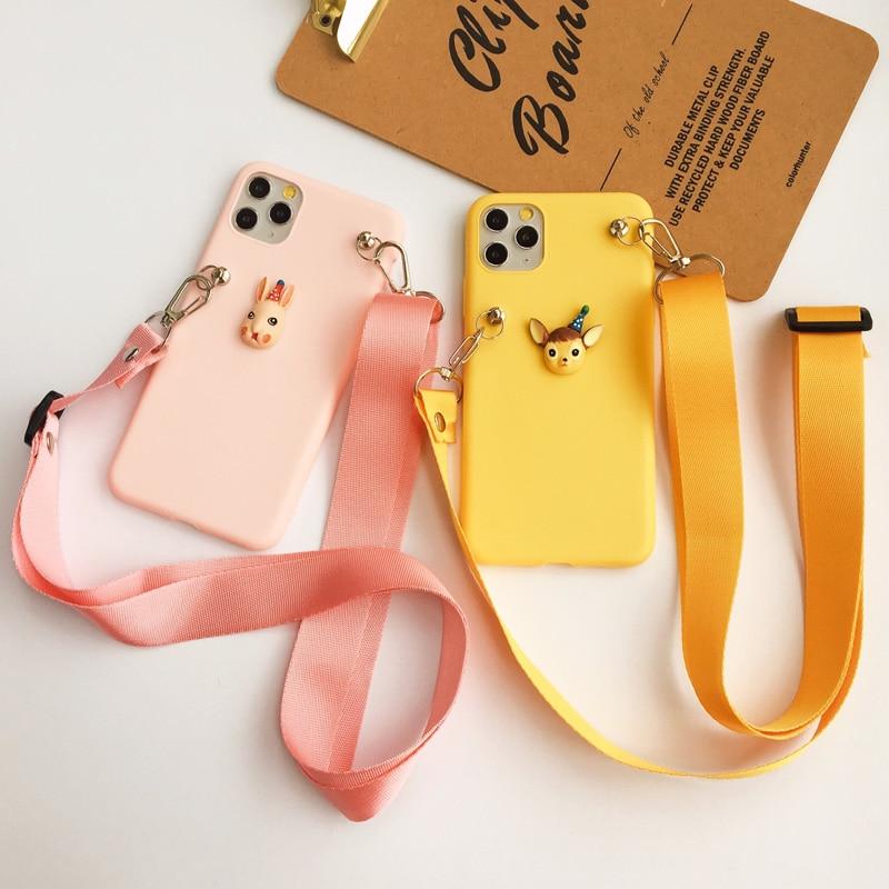 Cartoon Animal Lanyard Shoulder Strap Soft TPU Case For Samsung Galaxy S20 Ultra S6 S7 Edge S8 S9 S10E Note 5 8 9 10 Plus Lite