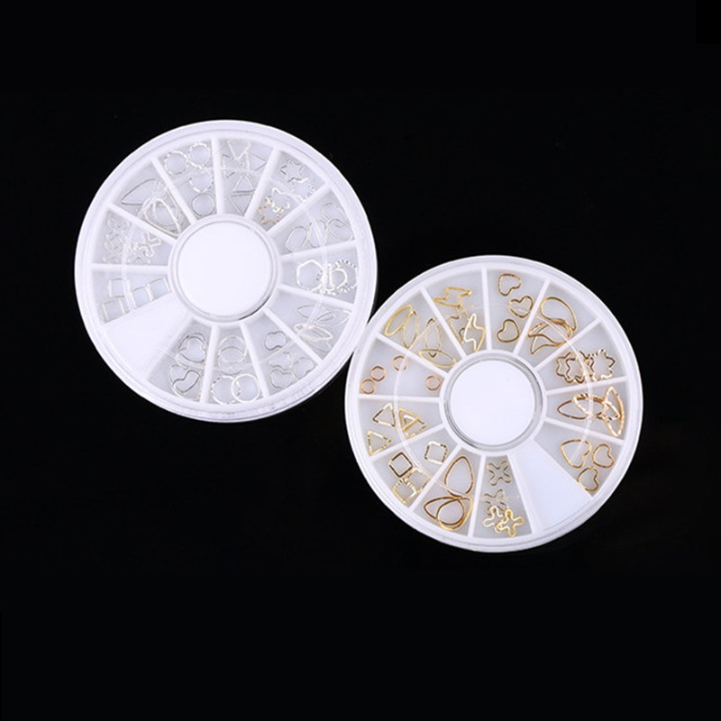 1 Box 12 Styles High Quality New Gold And Silver Nails Metal Ring Pierced Nail Applique 3D Charm DIY Nail Art Design
