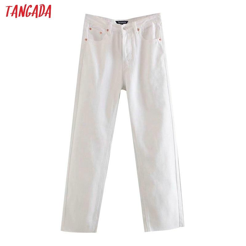 Tangada 2020 fashion women white jeans pants long trousers high waist pockets zipper female solid denim pants 4M165