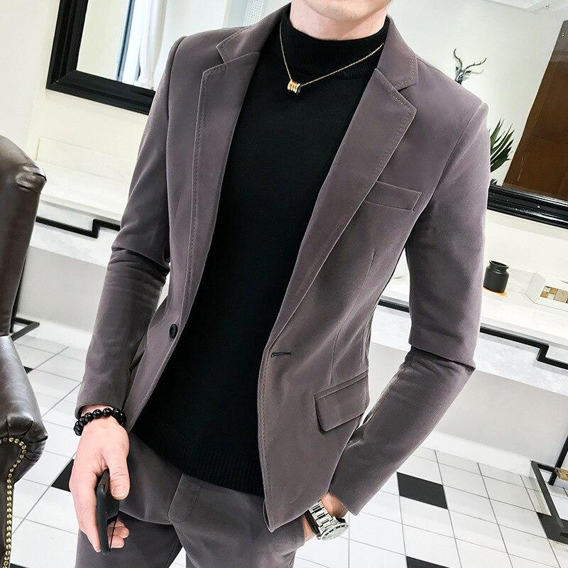 2019 Autumn New Style Men's Suede Blazer Stylish GUY'S Slim Fit Single-Button Plain Jacket Suit Pants Suit Set