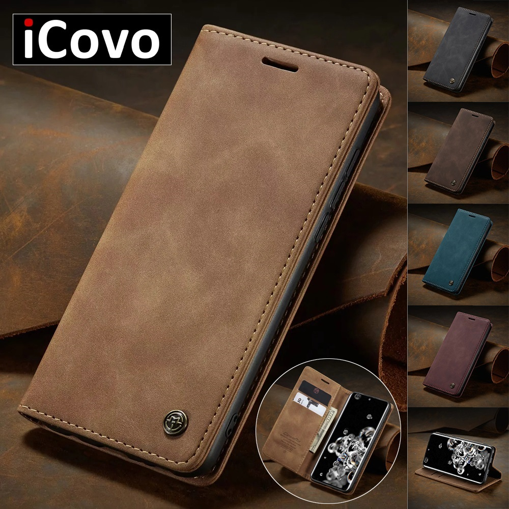 Matte Leather Flip Cover for Samsung A71 A51 A70 A50 A40 A30 A20 A10 Wallet Case S21 5G S20 Ultra Note 10 Plus S10 S10e S9 S8 S7