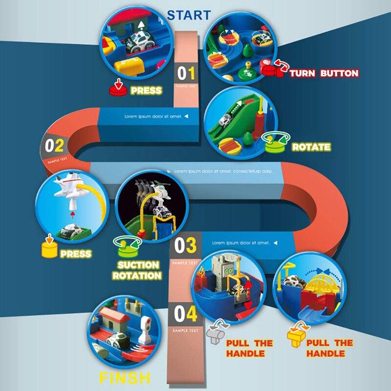 Nouveau manuel voiture aventure piste jouets pour enfants éducatifs véhicules de sauvetage aventure jouets Parking Simulation cadeau pour garçon - 3