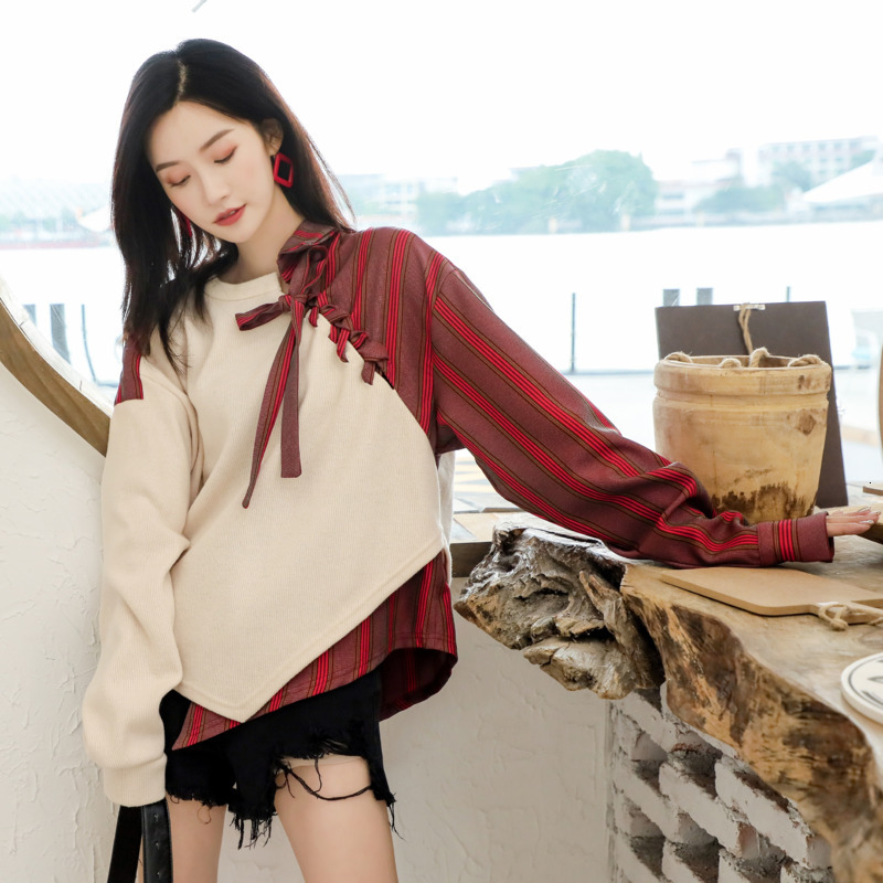LANMREM 2020 Spring New Sweater Sets Of Women Loose Thick Retro Temperament Stitching Long-sleeved Sweater 19B-a477