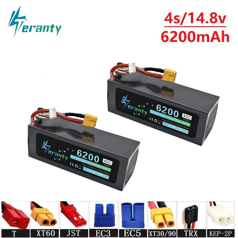 Teranty Power 14.8v 6200mAh 40C <font><b>Lipo</b></font> Batterry For RC Drone Boat Quodcopter Spare Parts <font><b>4s</b></font> <font><b>5200mah</b></font> 14.8v Batteries T/XT60 Plug image