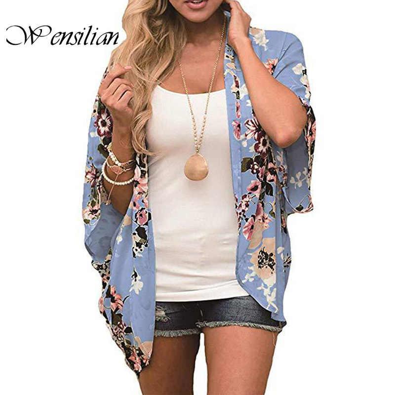 Casual Vintage kadınlar Kimono hırka Flora baskılı şifon bluz yaz uzun tığ Kimono Preto dış giyim Tops Blusas Mujer