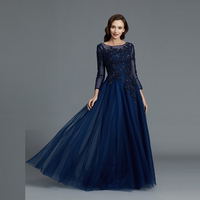 Wholesale Royal Blue Lace Applique Mother of the Bride Dresses A Line Three Quarter Sleeves Wedding Guest Dresses Beaded