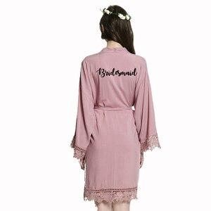 Image 5 - YUXINBRIDAL2019 新モーブ花嫁介添人花嫁のローブ綿着物ローブとレーストリム女性ウェディングブライダルローブショート