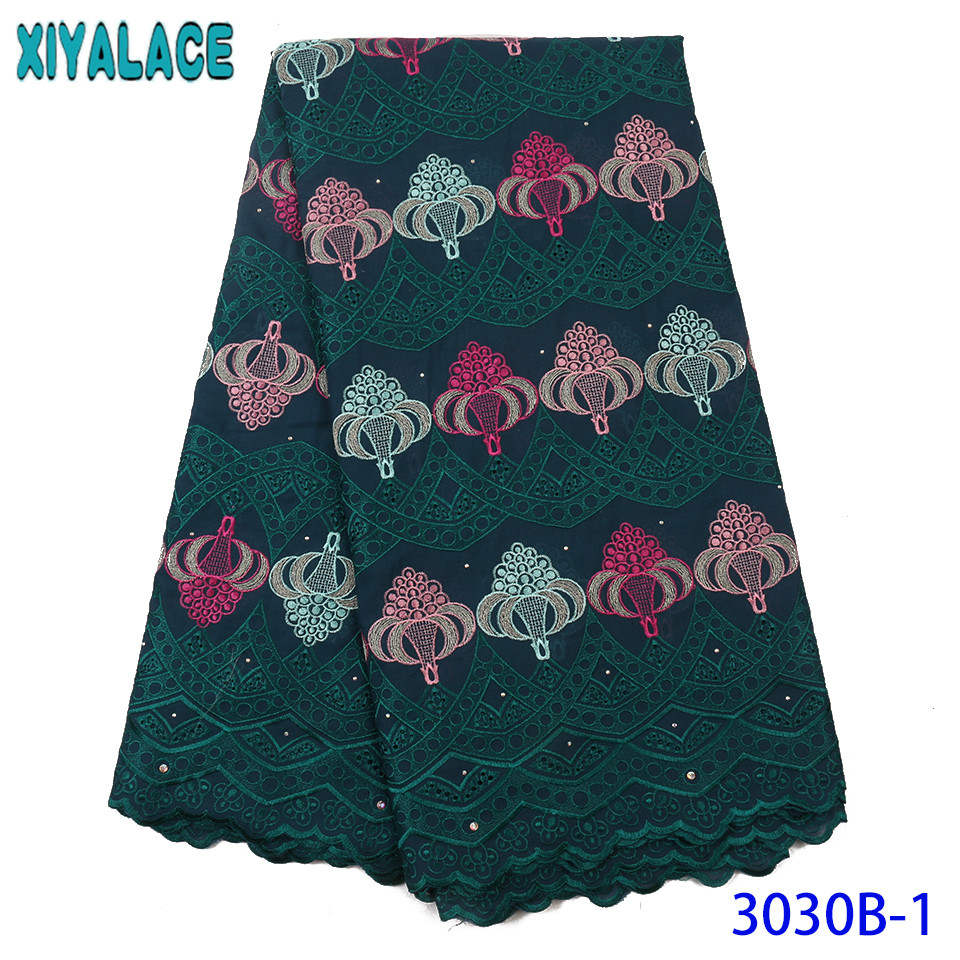 Best Selling Swiss Lace Fabric African Fabric Lace Swiss Voile Lace in Switzerland Embroidered Cotton Lace with Stones KS3030B
