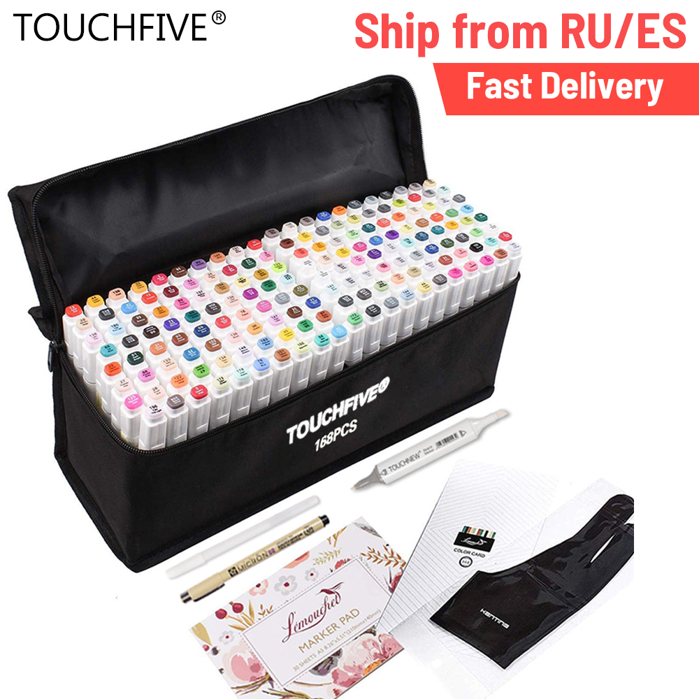 Touchfive 40/60/80/168 marcador de animación de Color, juego de plumas para dibujo, marcadores de arte, artículos de arte basados en Alcohol con 6 regalos