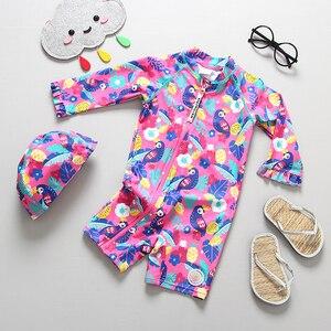 Image 3 - طفل فتاة ملابس السباحة UPF50 قطعة واحدة طويلة الأكمام UV الفتيات ملابس السباحة الأناناس فلامنغو ملابس حمام الطفل لباس سباحة للأطفال