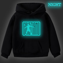 Hip Hop Luminous Cristiano Ronaldo 7 Hoodie for Kids Plus Velvet Fashion CR7 Hoodies Kpop Sweatshirts Winter Pullover Teenagers(China)