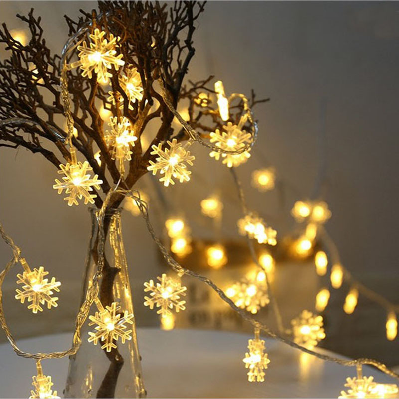 10 20 Leds Snowflake LED String Fairy Lamp Battery Powered for Home 2019 Xmas Wedding Christmas Tree Decoration Hanging Ornament in Pendant Drop Ornaments from Home Garden