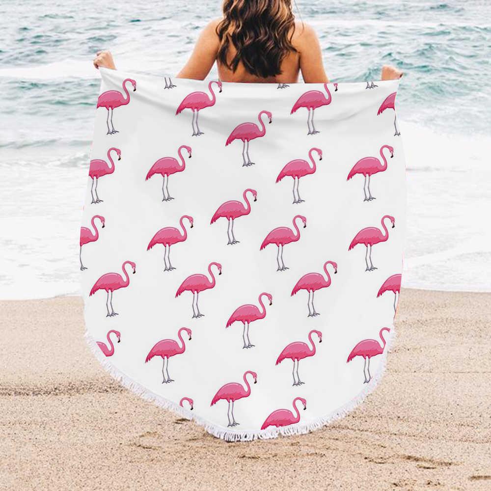 Toalha redonda urijk para praia, toalha com borla flamingo grande cobertor para piquenique viagem boho toalha de mesa