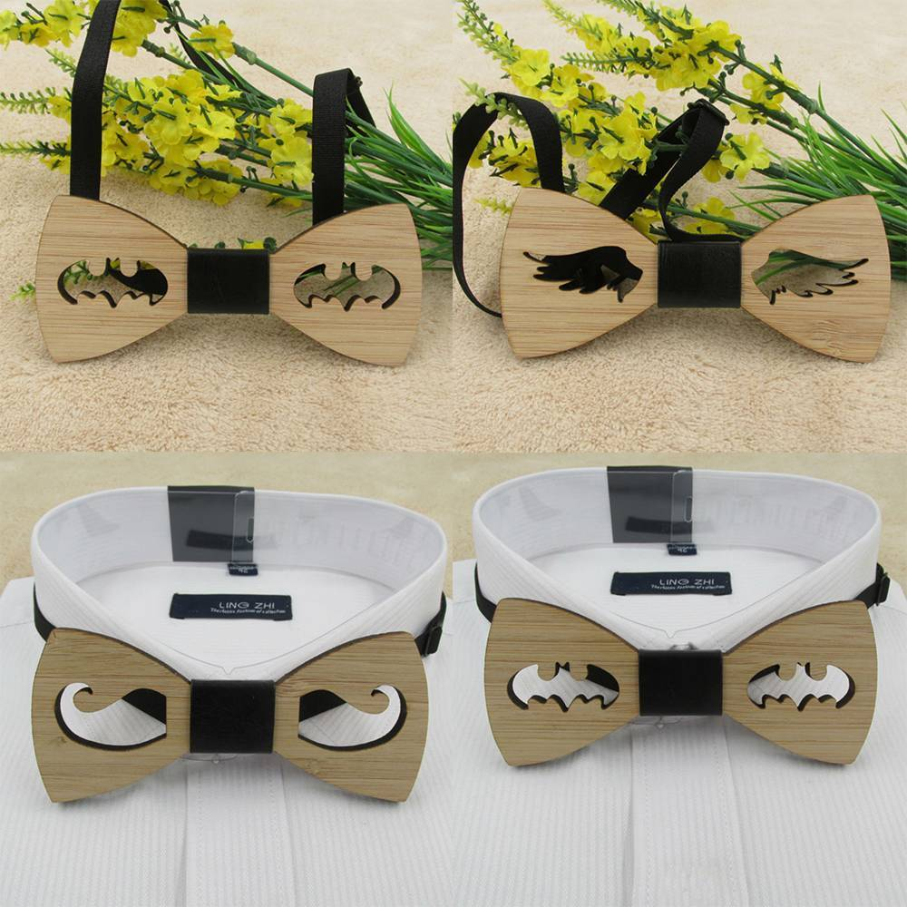 2019 Fashion Retro Vintage Men's Wooden Bow Tie Accessory Wedding Gift Bamboo Wood Hollow Design Bowtie For Men Business