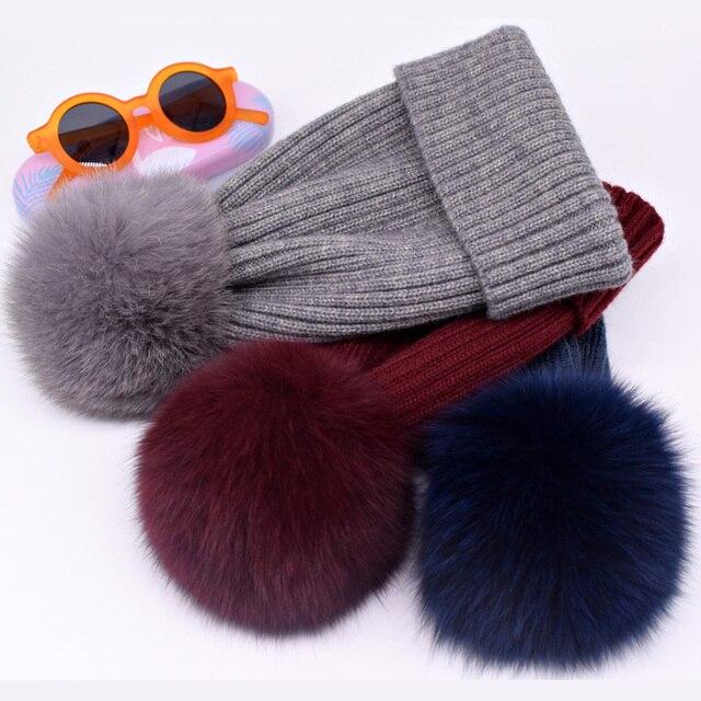 New winter hat luxury quality Fox fur pompom hats beanie for women 4