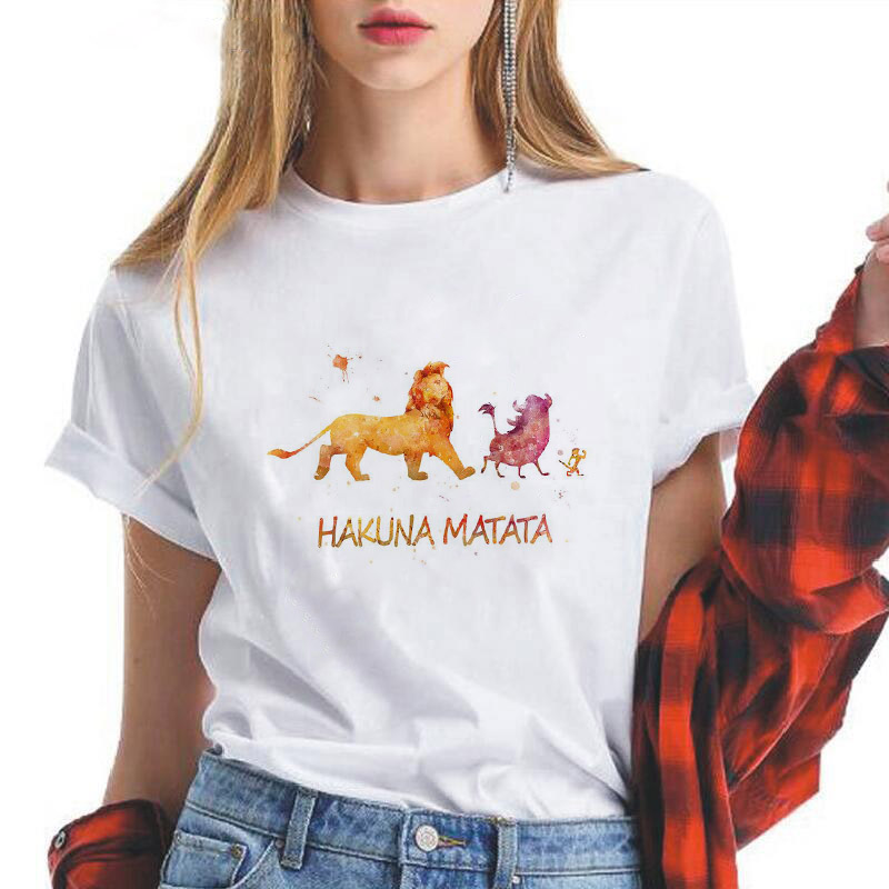 Showtly  Lion King HAKUNA MATATA Simba Best Friends Women T Shirt Harajuku Kawaii Streetwear Aesthetic Clothes Oversized T Shirt