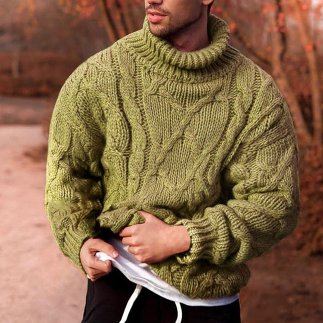 2020 Turtleneck Sweater Men Knitted Pullovers Autumn Winter Clothes Oversize Sweater Casual Men Tops Tricot Ribbed Pull Homme