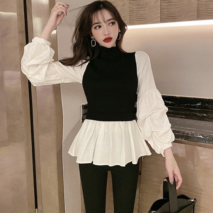 IMucci 2002 New Spring Stand Collar Blouses Split Joint Knitting Puff Sleeve Pleated Korean Fashion Women Shirt TM1466