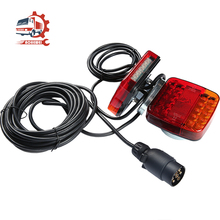 AOHEWEI Magnetic 20 LED Trailer Tail Light Kit 7.5m Cable Truck Lamp with 7 Pin Plug Adapter for Lorry Caravan Rear Brake Signal