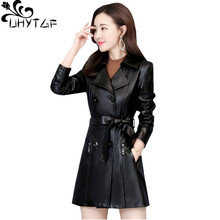 Jacket Sheepskin Double-Breasted Genuine-Leather Tnlnzhyn-Quality Coat Women Belt Slim